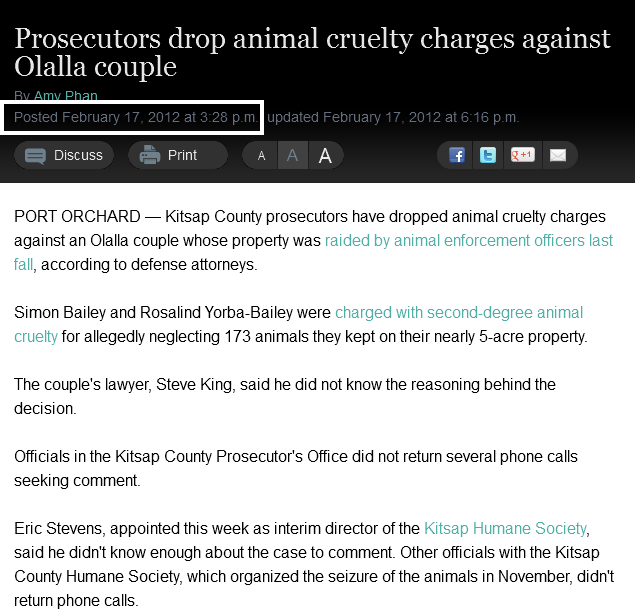 Prosecutors drop animal cruelty charges against Olalla couple » Kitsap Sun feb17