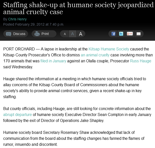 Staffing shake-up at humane society jeopardized animal cruelty case » Kitsap Sun feb29