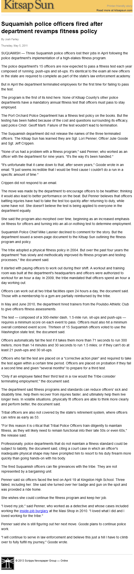 Suquamish police officers fired after department revamps fitness policy  Kitsap Sun 2013-07-25 00-43-36